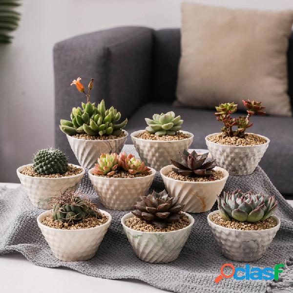 Cerâmico vaso de flores escritório em casa desktop vaso de flores pequeno mármore vaso de flores simples de vento