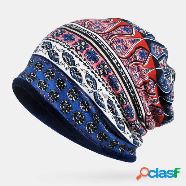 Gorro de turbante para mulheres com duplo propósito de algodão étnico floral padrão plus cachecol de veludo para manter o calor chapéu