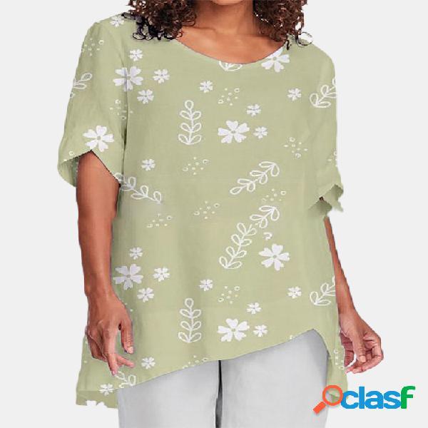 Irregular floral print manga curta o-pescoço casual blusa para mulheres