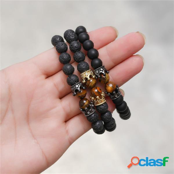 Pulseira de miçangas de ágata preta fosca do vintage coroa geométrica de metal olho de tigre pingente pulseira