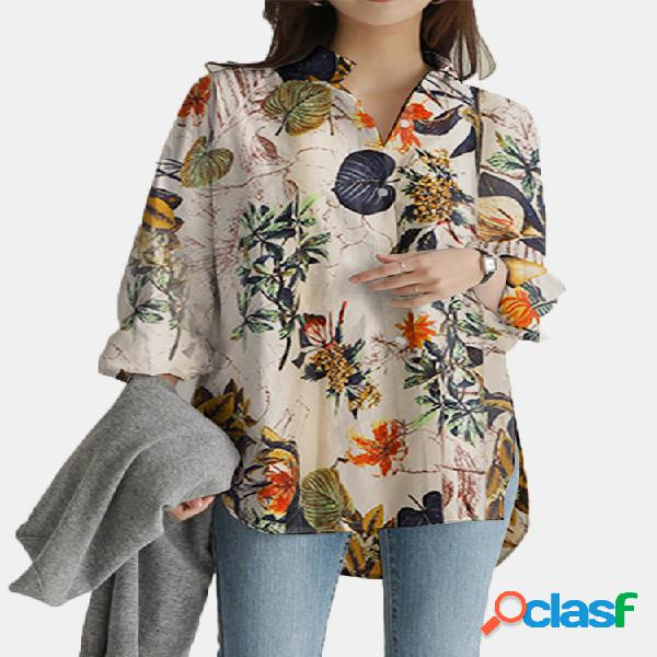 Blusa casual solta com estampa flor vintage de mangas compridas com bolsos