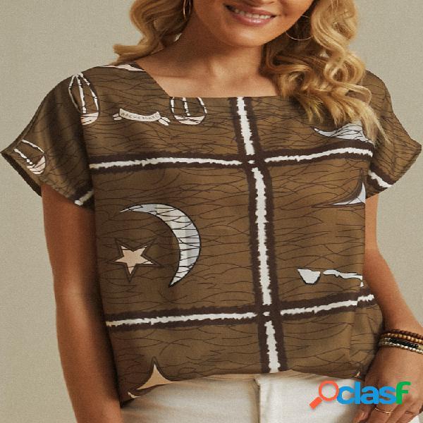 Blusa star moon listrada com estampa quadrada de manga curta