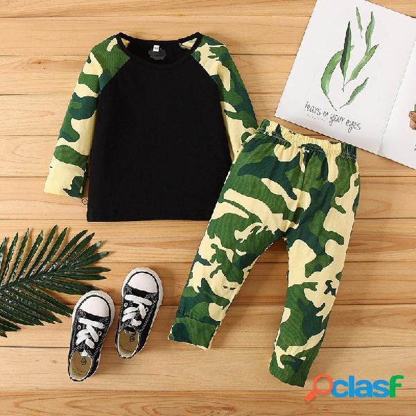 Conjunto de roupas casuais para bebês com estampa de camuflagem de mangas compridas para 6-24 milhões