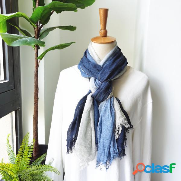 Lenço de outono e inverno literário lenço de algodão e linho lenço feminino cor gradiente lenço enrugado natural