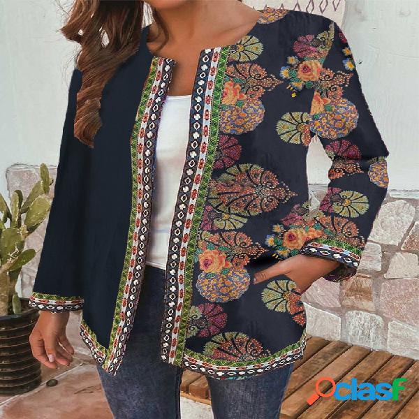 Patchwork de estampa floral estilo étnico plus jaquetas com bolsos