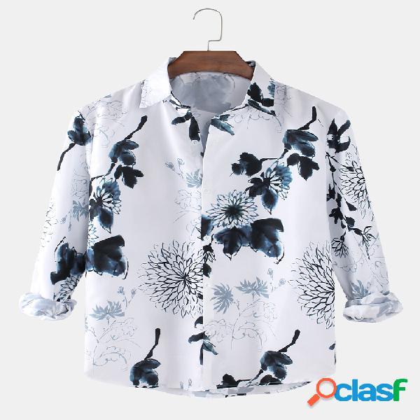 Camisas masculinas com estampa floral vintage simples lapela curva com bainha de manga longa