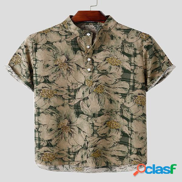 Estampa floral vintage masculina 100% algodão casual cavalheiros como henley camisa