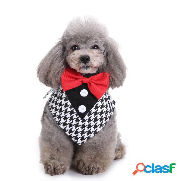 Cachorro formal gravata borboleta smoking bandana com lenço de pescoço ajustável para gravata borboleta