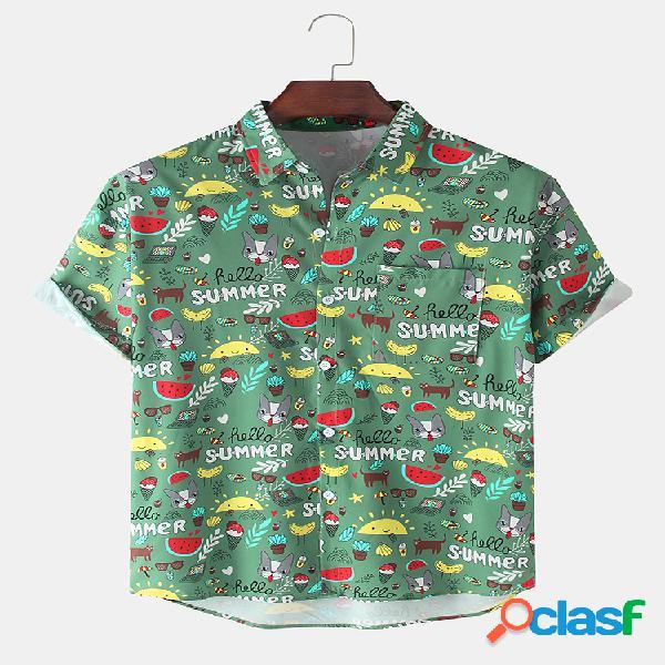 Camisas de manga curta casuais de algodão com estampa animal dos desenhos animados para homens com bolso