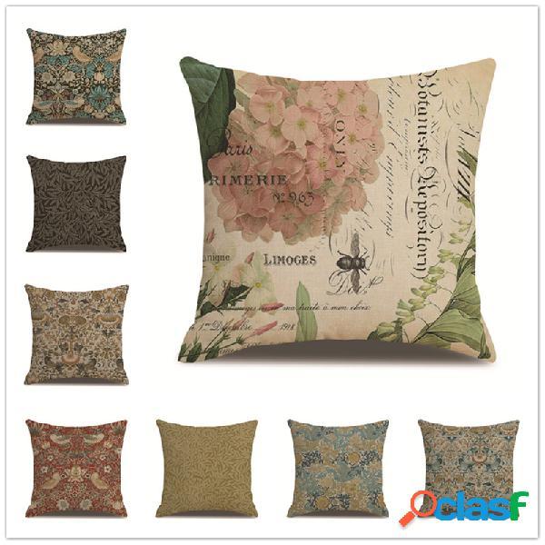 Estilo europeu vintage planta estampa capa de almofada de linho, sofá doméstico, cintura, escritório, fronhas