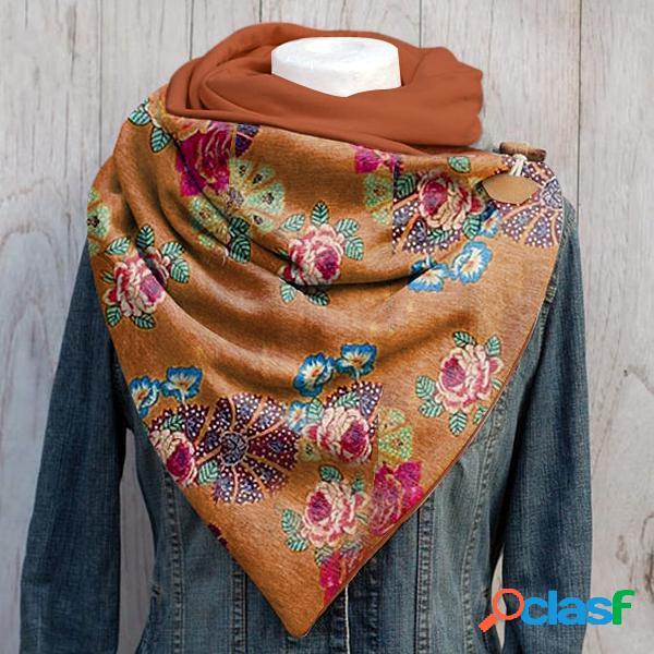 Lenço feminino multifuncional cor sólida floral padrão xale elegante e fixo ajustável lenço quente envolvente