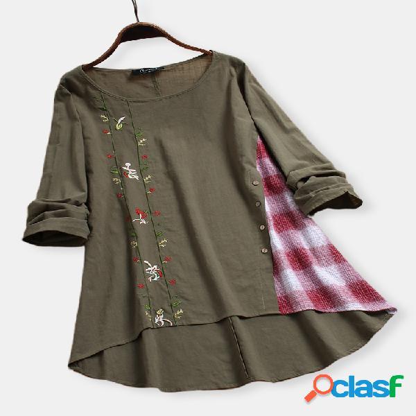 Botão patchwork bordado floral tamanho plus blusa