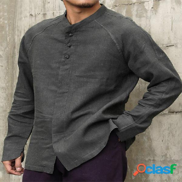 Camisas casuais masculinas de linho étnico de algodão de manga comprida