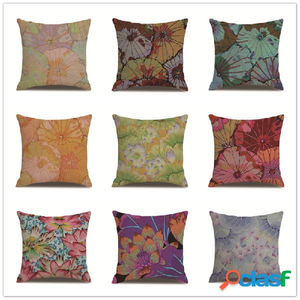 Capa de almofada de linho com estampa floral vintage lotuss, sofá doméstico, cintura, fronhas, fronhas