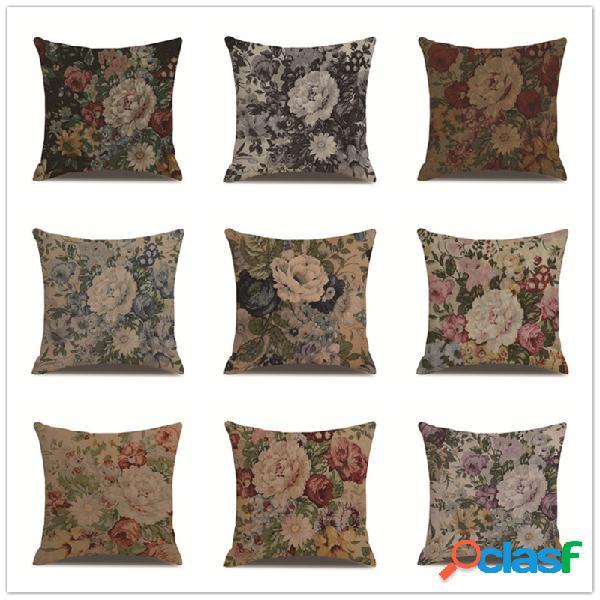 Capa de almofada de linho estilo europeu vintage, sofá doméstico, cintura, fronhas, decoração artística