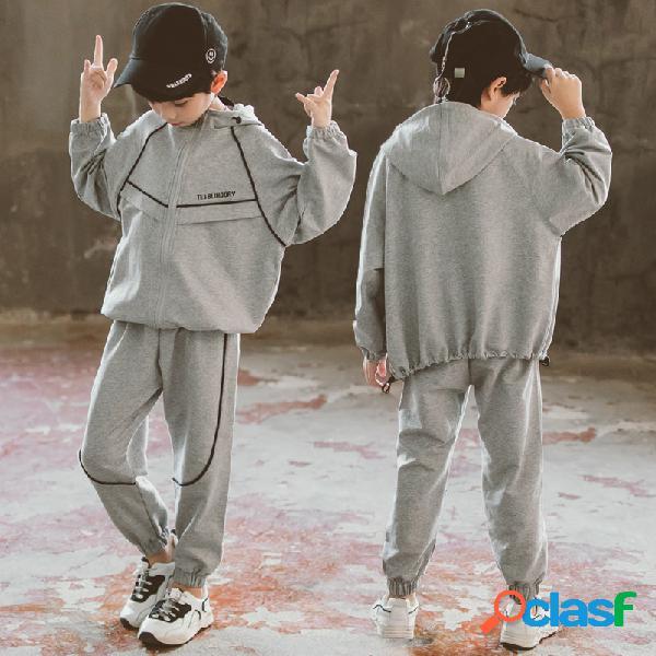 Cardigan menino linha casual cardigan definir roupas infantis de duas peças
