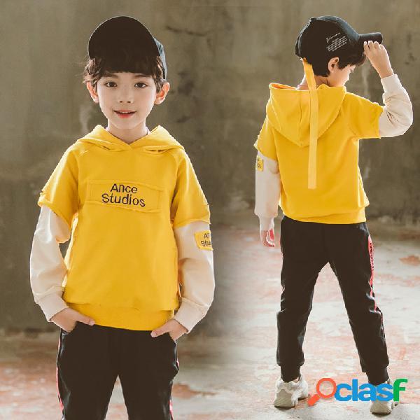 Meninos de moda infantil conjunto manga longa conjunto de duas peças