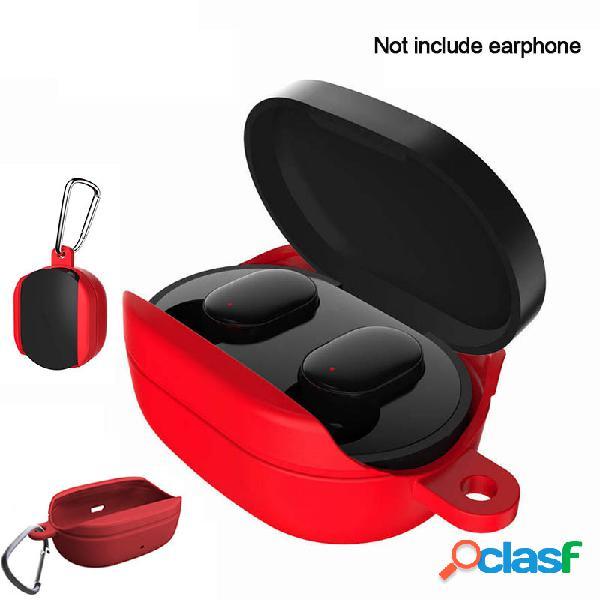 Proteção portátil silicone caso armazenamento de fone de ouvido bolsa para xiaomi redmi airdots with gancho