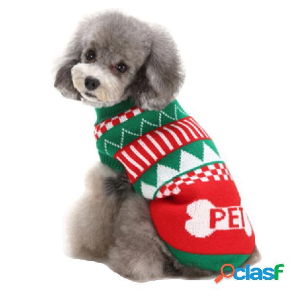 Suéter com tema de natal para animais de estimação cachorro gato pulôver de malha quente de crochê roupas elásticas casacos