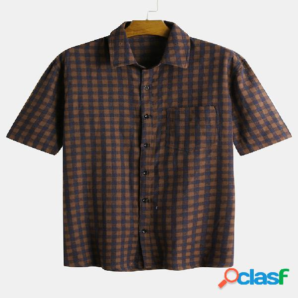 Camisa xadrez masculina estampada gola virada para baixo com bolso no peito casuais