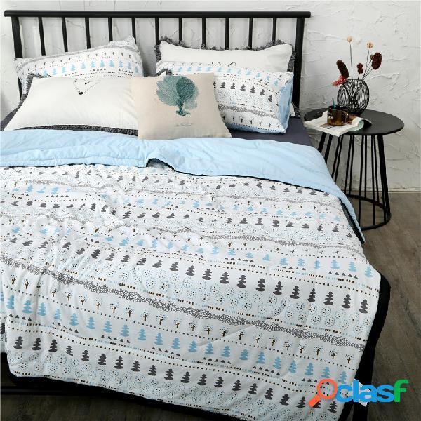 Conjunto de roupa de cama de verão de algodão lavado de 3/4 unidades estilo ins edredão fino soft fronhas queen king com capa de edredão