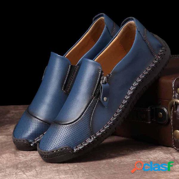 Menico tamanho grande homens classic mão costura confortável soft deslizamento em sapatos de couro casuais