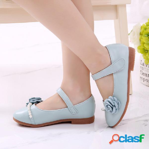 Meninas pérola flor decor pure color soft sola gancho loop mary jane sapatos