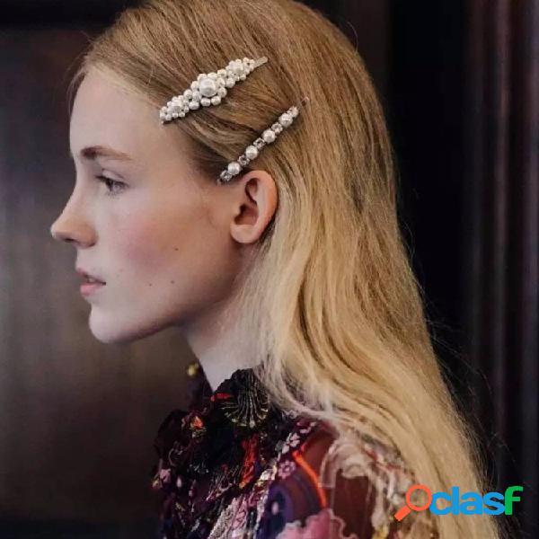 Moda grande pérola cabelo clipe retro palavra pasta cabelo clipe para as mulheres cabelo acessórios