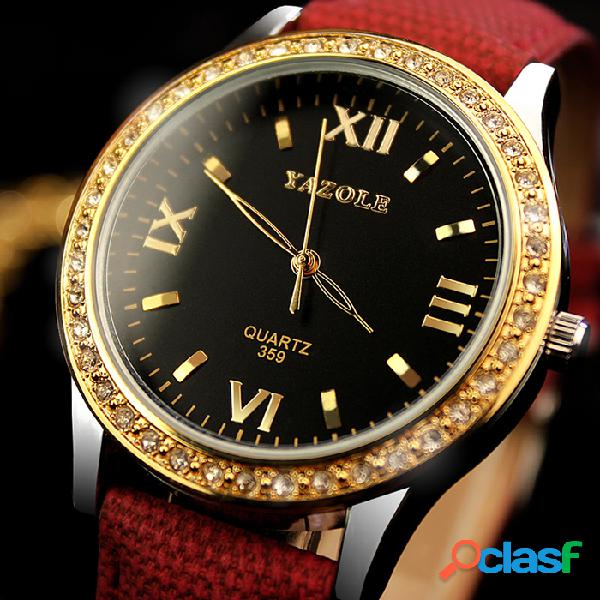 Relógios das mulheres de yazole relógios de ouro do diamante relógios de pulso de quartzo do couro de luxo para mulheres