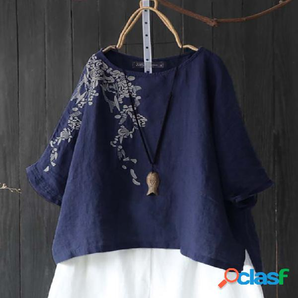 Blusa bordado floral manga longa vintage plus tamanho