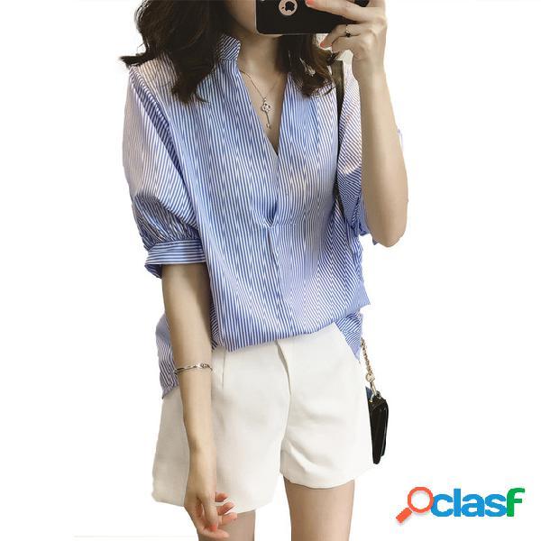 Feminino design sense of the pequeno de manga curta solta listrado camisa