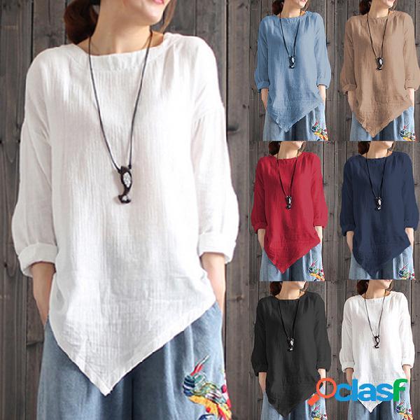 Mulheres de tamanho grande de linho de manga comprida retro top casual festa assimétrica solta camisa mulheres