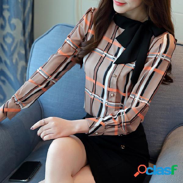 Nova temporada top bow versátil xadrez camisa manga longa chiffon camisa