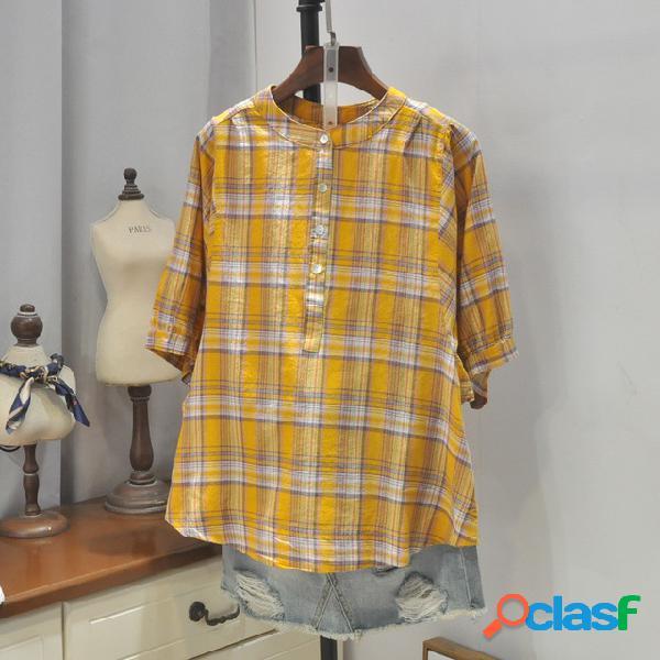 Pequeno fresco casual 19 estações new fashion stand collar single-breasted selvagem de mangas curtas camisa xadrez 4405
