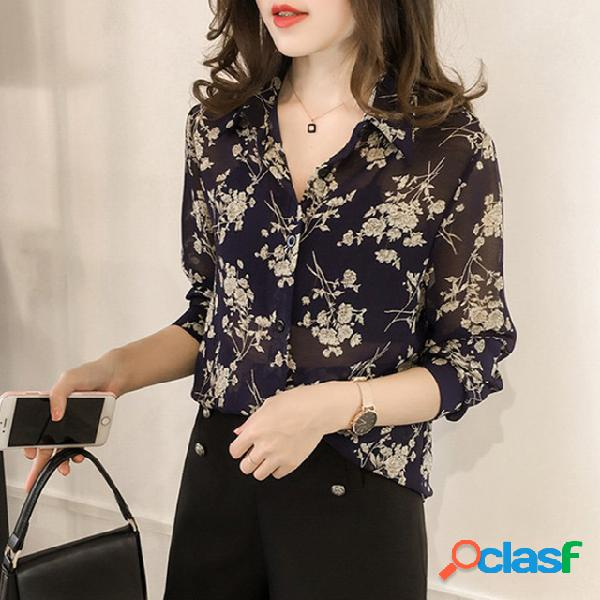 Temperamento feminino solto impresso camisa manga comprida feminina camisa ventoinha han de fundo camisa maré