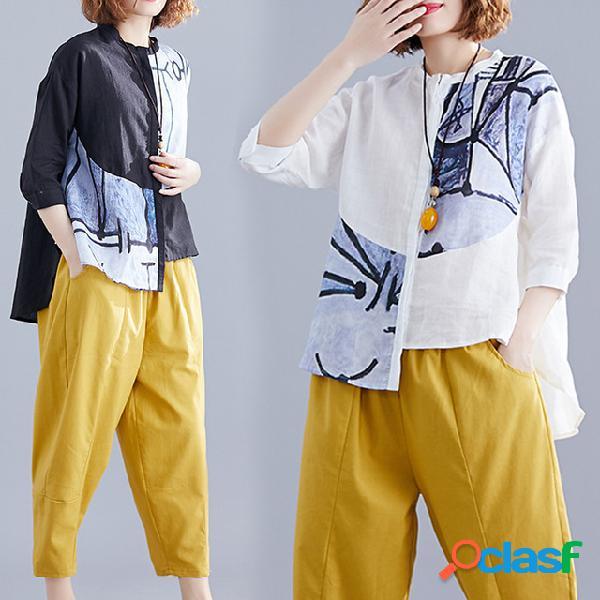 Temporada novo impresso cardigan solto grande tamanho das mulheres de manga curta de algodão e linho casuais camisa