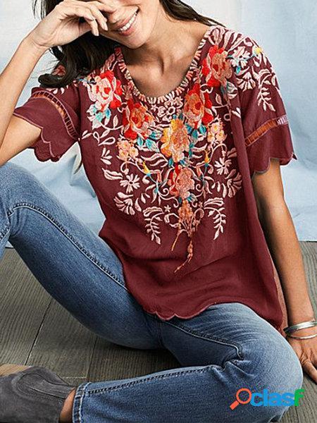 Top de manga curta bordado das mulheres camisa bordada em torno do pescoço