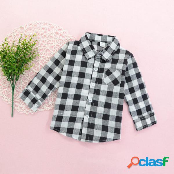 Xadrez das crianças camisa preto e branco de manga longa temporada botão infantil desgaste menino do bebê médio crianças tops