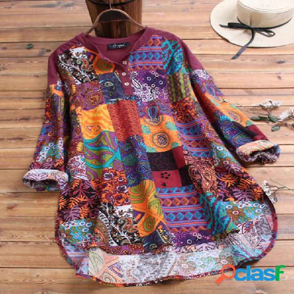 Algodão patchwork estampa floral estilo étnico plus tamanho camisa