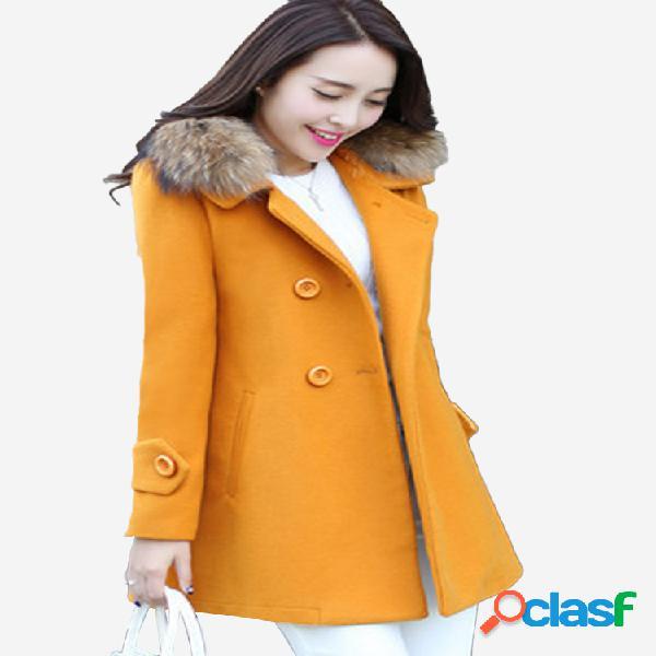 Casaco de lã feminino emagrecer casaco de gola de pele de seção longa