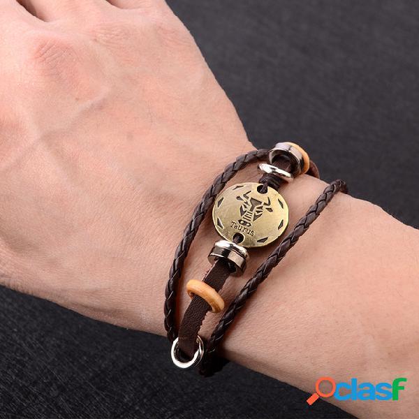 Doze pulseira constelação do vintage grânulos pingente mão trançada corda jóias punk