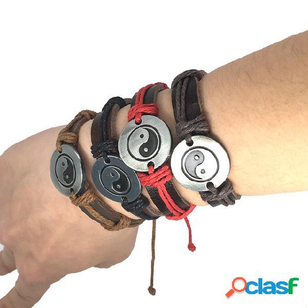 Fofoca yin yang do vintage unisex pulseira punk men bracelet mulheres pulseira de couro tecido à mão