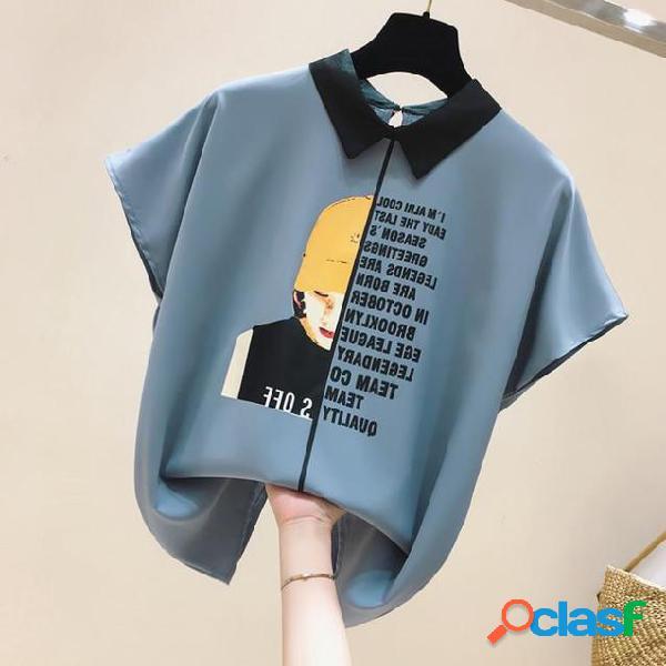 Design letra impressão menina chiffon camisa com manga curta solta camisa