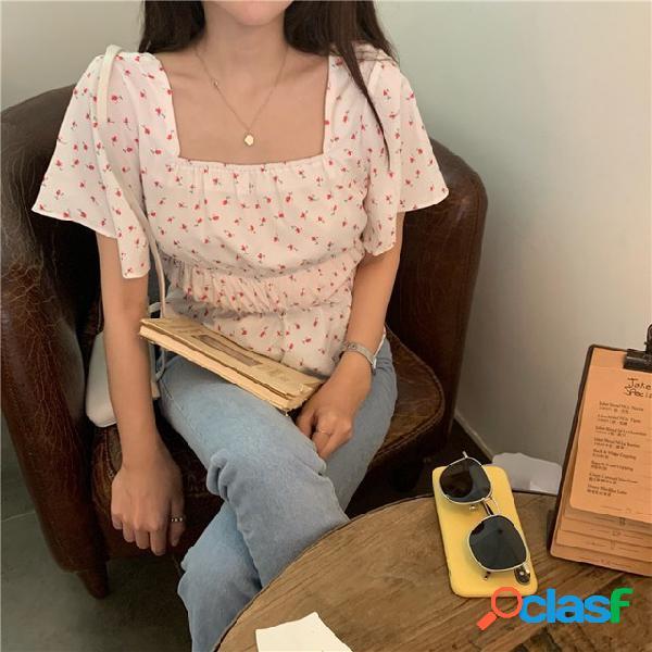 Gola quadrada de manga curta camisa floral feminino temporada novo estudante selvagem solto trompete camisa de manga comprida