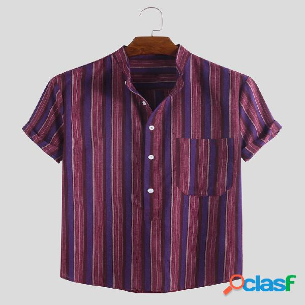 Mens casual daily wild striped stand collar manga curta henley camisa