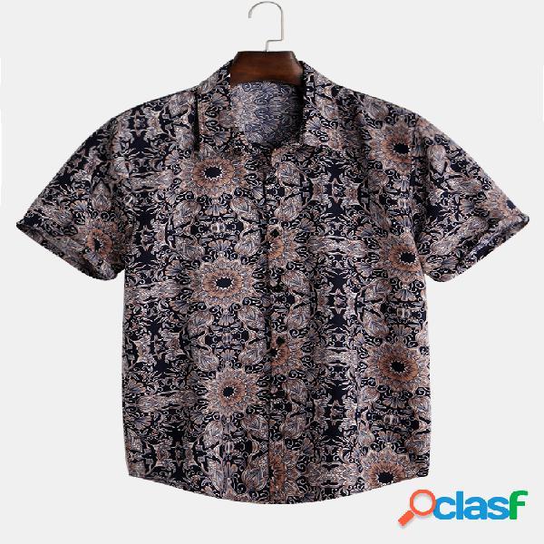 Mens étnico floral impresso férias slim manga curta lapela t-shirt