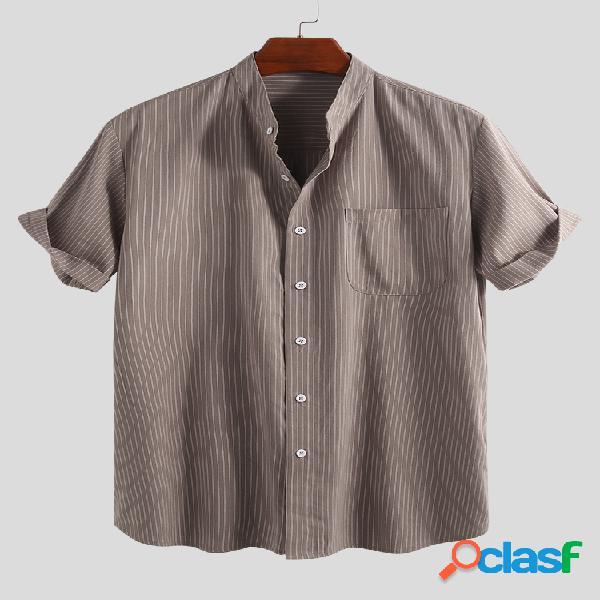 Moda masculina vintage listrada verão manga curta gola casual camisa