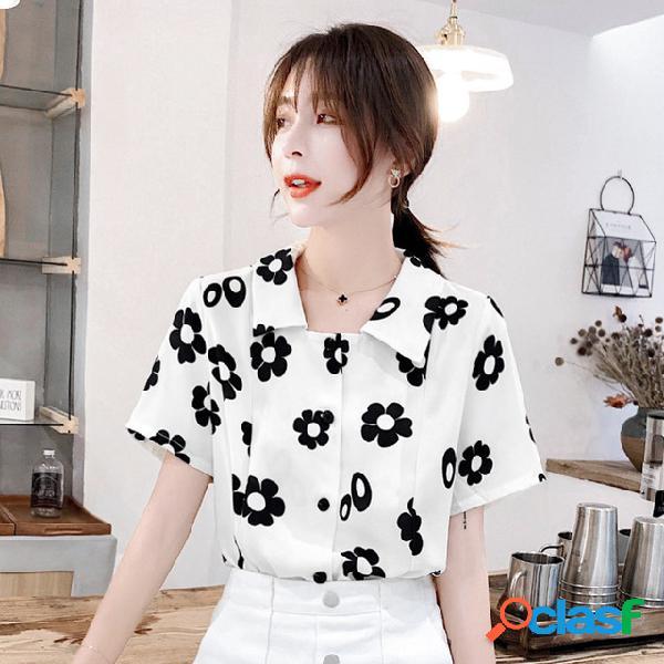 Nova camisa de chiffon das mulheres das mulheres de manga curta retro impresso ocean coat one