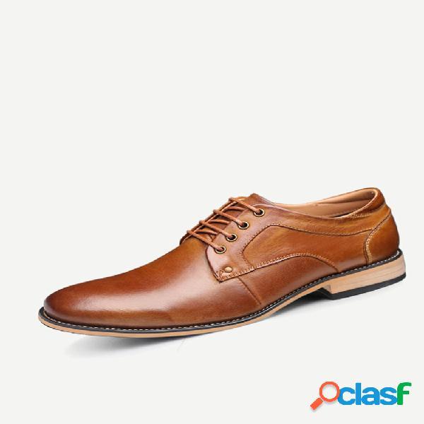 Sapatos formais masculinos de tamanho grande, vintage, genuíno, couro de vaca, amarrados, businees
