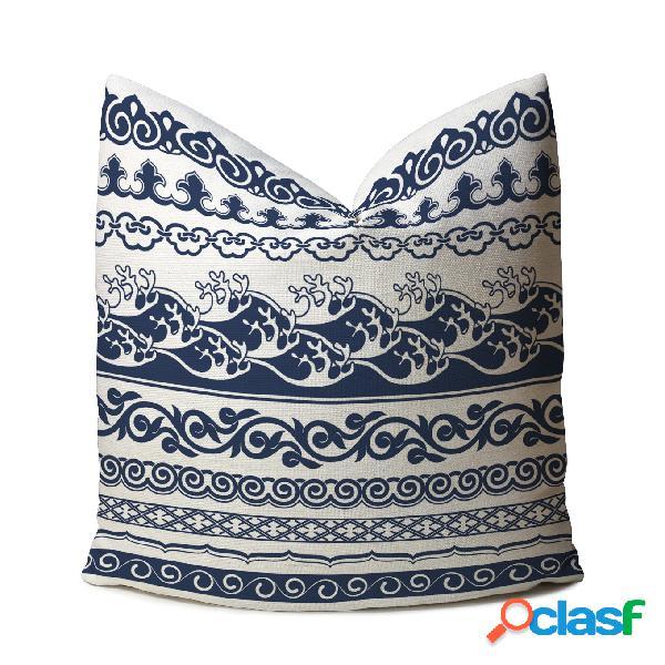 Clássico estilo chinês azul & branco impresso linho capa de almofada home sofa art decor throw fronha